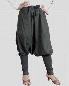 Gray Ninja Trousers, Unisex High Fashion Gaucho Pants, in Cotton Jersey. #TribalFashion #CasualNinjaPants
