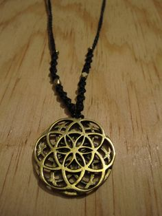 Simple Tribal Macrame Seed of Life / Flower of Life Necklace