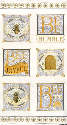 Bee Joyful - Hive Lessons - Cream - 24 x 44 PANEL Quilt fabric online store Largest Selection, Fast Shipping, Best Images, Ship Worldwide Charm Pack Quilts, Shabby Fabrics, Bee Art, Bee Theme, White Paneling, Quilt Kits, Cotton Quilts, Cotton Fabric, Fabric Panels