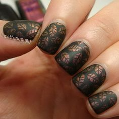 Matte Copper Leaves Nail Design for Short Nails.