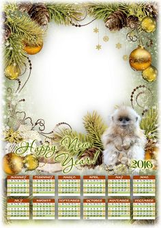 Free 2016 Calendar psd with cutout for photo - Happy New Year!
