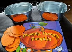 """Pumpkin hunt and sorting activity to go along with """"Plumply, Dumply Pumpkin"""" via I Heart Crafty Things."""