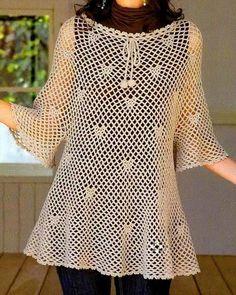 Wonderful Tunic - Free Crochet Diagram - (crochet-sweaters.blogspot)