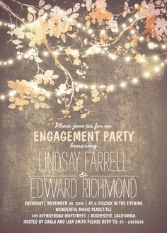Engagement invitations shabby chic engagement party invites eat fancy engagement party invitation card plus rustic string lights stopboris Choice Image