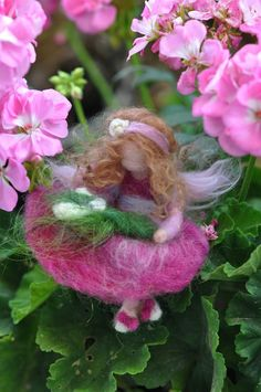 Needle felted  Waldorf- Wool Fairy-Pinck fairy