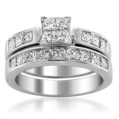 14k White Gold Princess-cut Diamond Invisible-Set Bridal Set Wedding Ring (2 cttw, H-I, SI2-I1)
