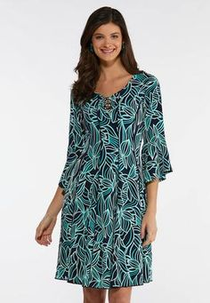 c316482ac0 Plus Size Puff Leaf Print Swing Dress A- Line   Amp   Swing Cato Fashions