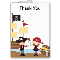 Pirate Boy and Girl Thank You Note Cards