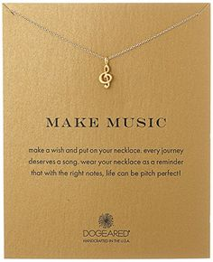 "Dogeared ""Reminders"" Make Music-Treble Clef Gold Charm Necklace, 18"""