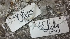 An Officer and His Lady CHAIR HANGERS, Shabby Chic Wedding Signs, Military Wedding Sign, Mr and Mrs Sign, Vintage Wedding Signs, Starfish