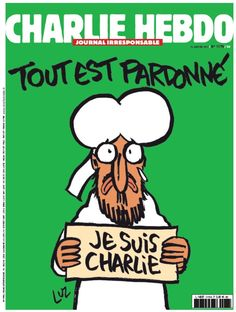 Charlie Hebdo cover after the terrorist attacks in Paris last week