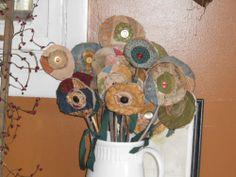 Primitive old quilt flowers
