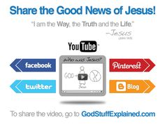 SHARE JESUS FOR EASTER - All this week we will be sharing the message of Jesus Christ with new images that you can share each day to Pin and share on Facebook and Twitter.  The Scriptures each day walk through God's plan in sending his Son Jesus Christ, and many are from the new video Jesus - by God Stuff Explained