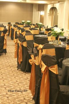 Black banquet chair cover with antique gold satin sash Black Party Decorations, Birthday Decorations, Wedding Decorations, Wedding Ideas, Black Chair Covers, Banquet Chair Covers, Burnt Orange Weddings, Orange Table, Satin Sash