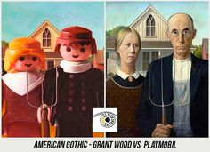 37 Obras de Arte Clasicas hechas con Playmobil / 37 Classical Artworks remakes with Playmobil Star Wars Personajes, Grant Wood, Famous Artwork, American Gothic, Getty Museum, Ppr, Photoshop, Legoland, Teaching Art
