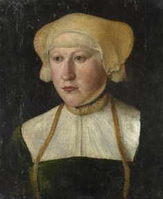 It has been suggested that there is a resemblance between the style of this portrait and the work of Hans Muelich (or Mielich 1517 - 1573). Its poor condition makes a more precise attribution difficult.