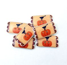 6 Fall Crow and Pumpkin Penny Rug sewing by buttonsbyrobin on Etsy, $13.99