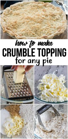 This recipe for crumble topping is the perfect crumble for any pie recipe. This recipe for crumble topping is the perfect crumble for any pie recipe. You can even make it for muffins or coffee cake! Crumb Topping For Pie, Streusel Topping, How To Make Crumble, Cake Pops, Apple Crumble Pie, Blueberry Crumble Pie, Pie Crust Recipes, Crumb Pie Crust Recipe, Crumb Top Apple Pie Recipe