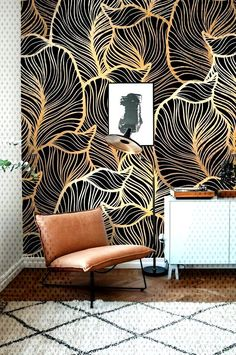 Monochrome Leaf Wallpaper Exotic leaves Wallpaper Baroque style Wall Mural Home Décor Easy install Wall Decal Removable Wallpaper Room Wallpaper Designs, Bedroom Wallpaper Accent Wall, Look Wallpaper, Accent Walls In Living Room, Wallpaper Stores, Trendy Wallpaper, Wall Wallpaper, Designer Wallpaper, Leaves Wallpaper