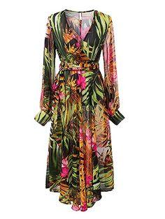 Shop Vestido Con Estampado De Hojas De Manga Larga V-Cuello En Verde from choies.com .Free shipping Worldwide.$38.99