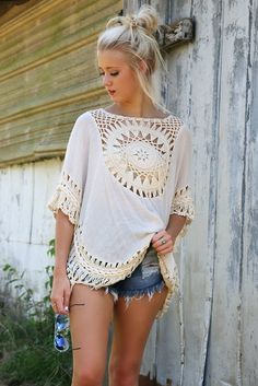 Crochet Patterns Blusas Big size bohemian handmade crochet lace women blouses shirts beach cover up patchwork loose batwing sleeve pareos ladies blouse - Estimated Delivery Time: days Crochet Tunic, Crochet Clothes, Crochet Lace, Boho Tops, Tee Shirt Dentelle, Blouses For Women, Ladies Blouses, Ideias Fashion, Casual