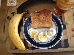 Military diet. Breakfast option. Day #2   Whole wheat toast (I use the healthy life 35 calorie bread)  Hard boiled egg (these are so awesome to cook ahead of time and have on hand as a healthy snack)  Half a banana  Coffee or tea (plain-no Splenda)