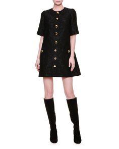 Dolce & Gabbana Short-Sleeve Button-Front Shift Dress, Black