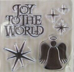 "We R Memory Keepers ""Joy To The World"" Christmas-Themed Clear Stamps, 6 Clear Acrylic Scrapbooking Stamps 3""x3"", Holiday Scrapbooking Ideas by SimplyCraftSupplies on Etsy"