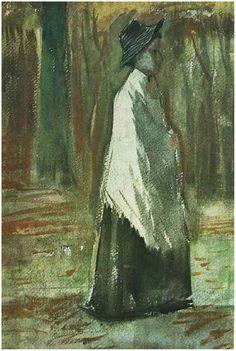 Van Gogh: Woman with White Shawl in a Wood, Van Gogh Gallery.
