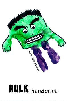 Hulk handprint: superhero craft for kids. Fathers day card or gift idea for Dad.
