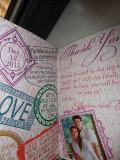Damask Passport Wedding Invitations  by MyMemorableDesigns on Etsy... i love how they created their own stamps