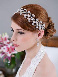 Silver Crystal Headpiece Crystal Wedding Headband by GildedShadows, $68.00