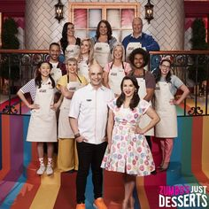 🍮THE DESSERT DREAM TEAM! 🍮 We can't wait to see what amazing creations they cook up for Season 2 of Zumbo's Just Desserts! 🎂 Contestants wear Cargo Crew Otto Bib Aprons in Sulphur Gwyneth Paltrow, Zumba, Zumbo's Just Desserts, Bib Apron, Aprons, Rachel Khoo, Name Embroidery, Embroidery Services, Apron