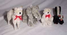 Vintage Pipe Cleaner Animal Figurines, Collectible Japan Skunk, Elephant, Bear +