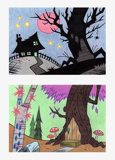 #composition #spooky #colouredpencils #trees #backgrounddesign #background #treehouse