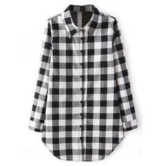 Yoins Black Lapel Collar Grid Pattern Button Front Shirt ($12) ❤ liked on Polyvore featuring tops, black, print button down shirt, print shirts, collared shirt, oversized button down shirt and pattern shirt