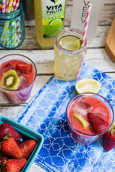 Strawberry Kiwi Margarita from The Girl In The Little Red Kitchen