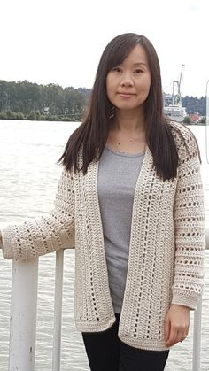 Designed with simplicity in mind, this cardigan is the perfect casual, sporty cardigan that will fit any occasion. The cardigan is crocheted in one piece from side to side, so it has seams only along the sleeves and sides. Eyelet rows throughout sleeves and body add an airy touch to