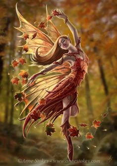 """Autumn fairy"" by Anne Stokes. I actually have a glass statue that looks very similar too this by Amy Brown."