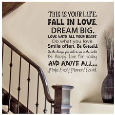Wall Decal quote  This is your life  Vinyl Wall por ModernWallDecal
