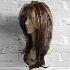 Long Side Bang Layered Natural Straight Colormix Synthetic Wig