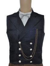 Fashion Black Jacquard Double Breasted Steampunk Waistcoat - more subtle, might be better if the pants have a stripe