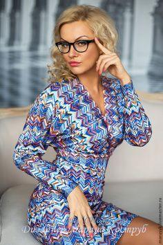 Купить Платье-СН-3-Миссони - голубой, в полоску, Платье нарядное, платье миссони