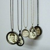 Pendants  (oxidised silver and antique photographs) by Zoe Duthie