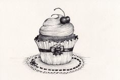cherry cupcake original drawing, Micron pen on paper