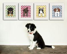 Chevron Dog prints Pick Any 4 dogs Baby nursery art by Wallfry, $47.00