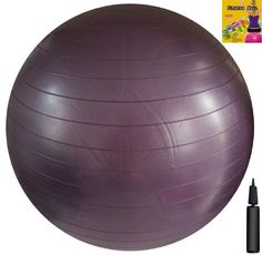 Fitness Ball: Purple, 30in/75cm Diameter, Includes 1 Ball +1 Pump + 1 Page Instruction Chart. No instructional DVD. (Exercise Gym Swiss Stability Ball) Apple Round Global Trading LLC
