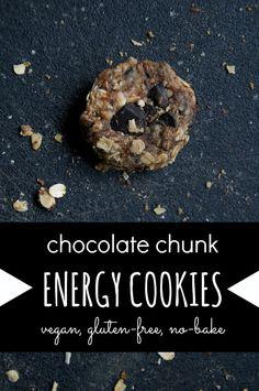 Chocolate Chunk Energy Cookies -- vegan, gluten-free, no-bake // neverhomemaker