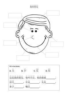 Students learn about facial features and four adjectives to describe size and length. Chinese Sentences, Chinese Phrases, Chinese Words, Learning Activities, Teaching Resources, Chinese Dictionary, Chinese Lessons, Bilingual Classroom, Chinese Writing