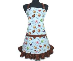 Cupcake Apron for Women  Blue with chocolate polka by ElsiesFlat (Home & Living, Kitchen & Dining, Linens, Aprons, retro apron, retro kitchen apron, cupcake apron, kitchen apron, full kitchen apron, full apron, cupcakes, ruffled apron, bakery, girls apron, cupcake bakery, apron for women, blue and brown)